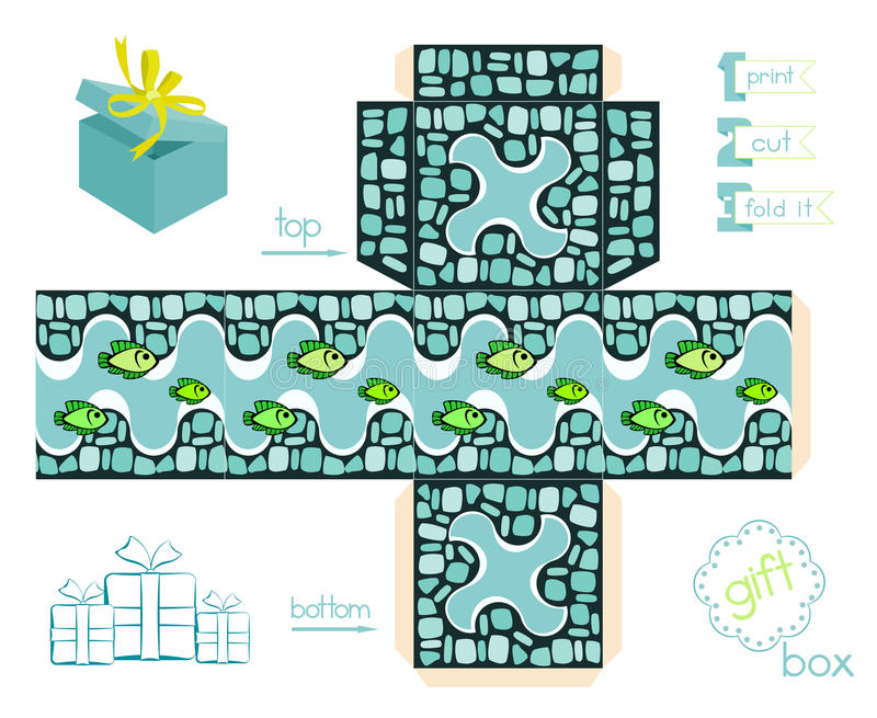 Printable Gift Box With Mosaic Pattern And Fishes vector illustration