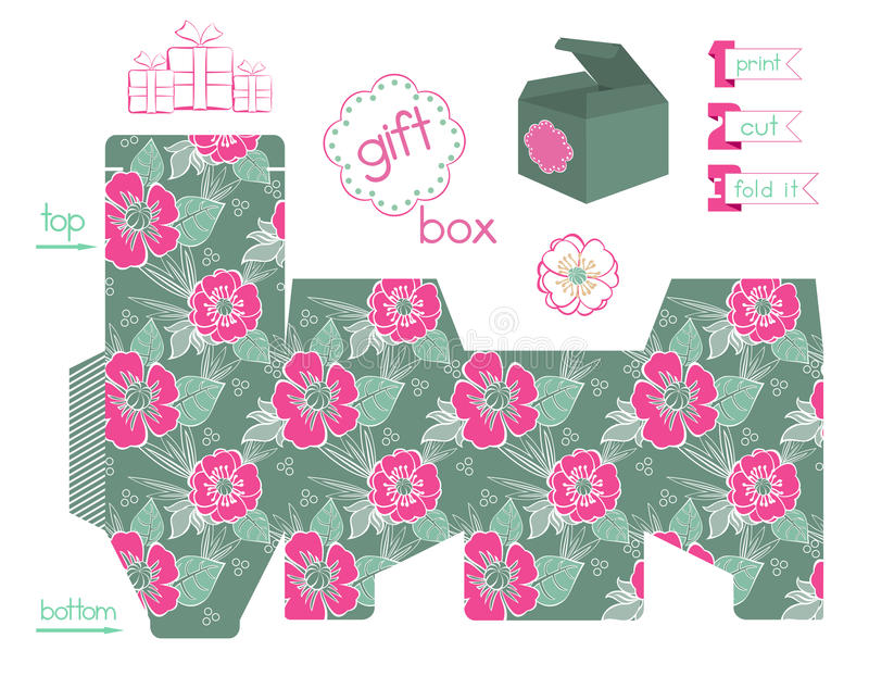 Printable Gift Box With Poppies Pattern royalty free illustration