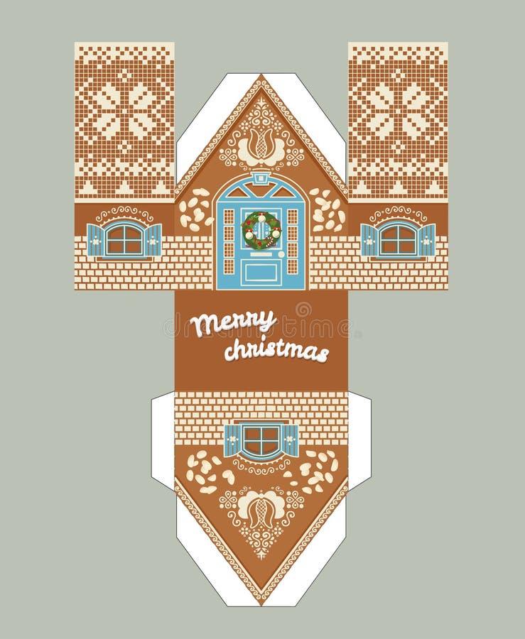 printable gift gingerbread house with christmas glaze