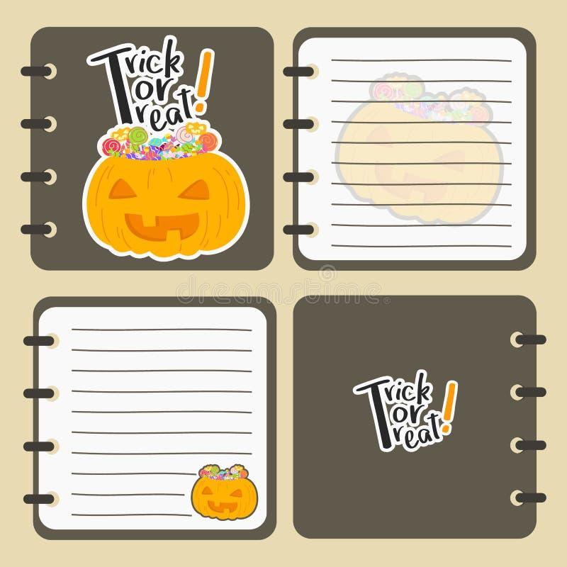 Printable Halloweenowego notatnika Wektorowy projekt ilustracji
