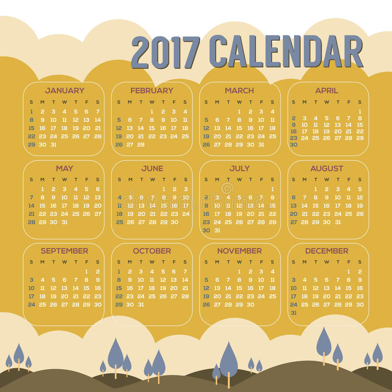2017 Printable Kalendarzowych początków Niedziela rocznika Naturalny Krajobrazowy kolor ilustracja wektor