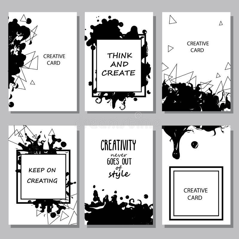 Printable kolekcja Kreatywnie Freehand karty Ręka rysujący tekst ilustracji