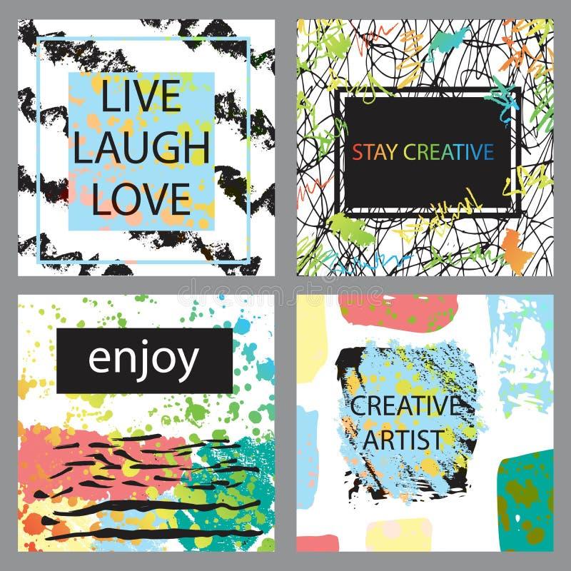Printable kolekcja Kreatywnie Freehand karty Ręka rysujący tekst ilustracja wektor