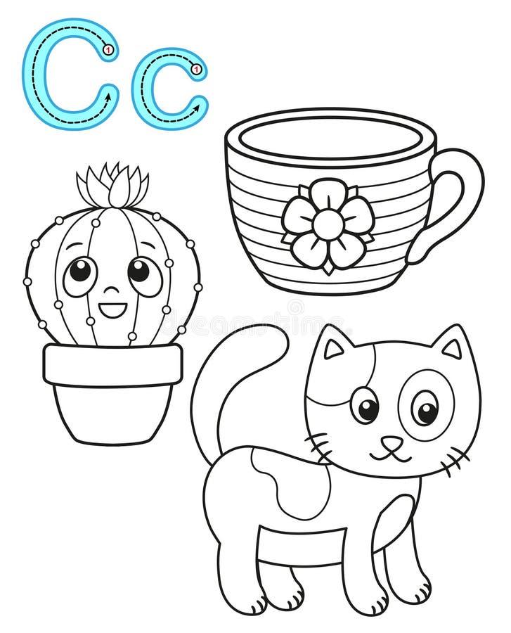 Printable kolorystyki strona dla dziecina i preschool Karta dla nauk angielszczyzn Wektorowy kolorystyki ksi??ki abecad?o Pisze l ilustracja wektor