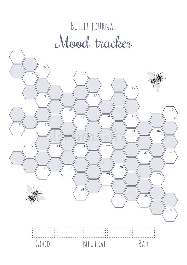 image regarding Bullet Journal Mood Tracker Printable identified as Printable Temper Tracker With Coloured And Numbered Honeycombs