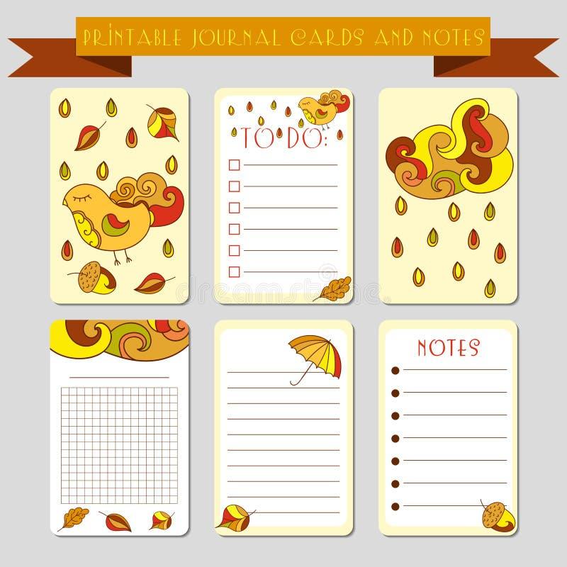 Printable notatki, czasopismo karty z autmun ilustracjami Szablon dla złomowej rezerwaci, opakowanie, notepad, notatnik, dziennic royalty ilustracja