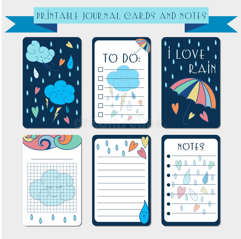 Printable notes, journal cards with autmun illustrations. Template for scrap booking, wrapping, notepad, notebook, diary. Printable journal cards, labels, with stock illustration