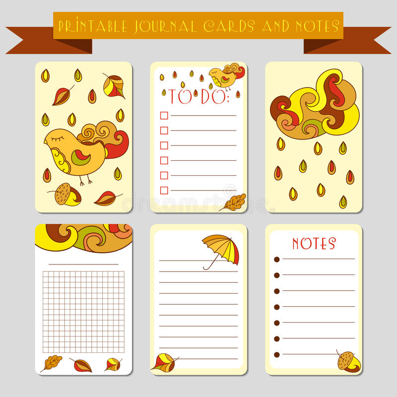 Printable notes, journal cards with autmun illustrations. Template for scrap booking, wrapping, notepad, notebook, diary. Printable journal cards, labels, with royalty free illustration