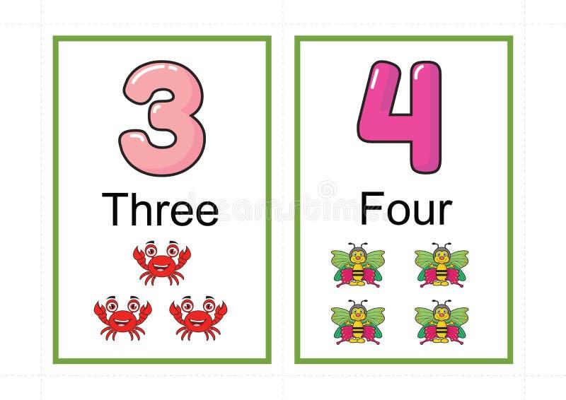 Printable numerowi flashcards dla uczyć numerowej flashcards liczby błyskową kartę dla uczyć numerowy łatwego drukować na a4 z kr zdjęcia stock