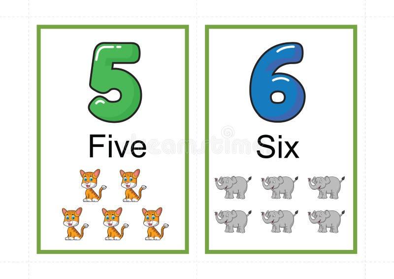 Printable numerowi flashcards dla uczyć numerowej flashcards liczby błyskową kartę dla uczyć numerowy łatwego drukować na a4 z kr zdjęcie royalty free