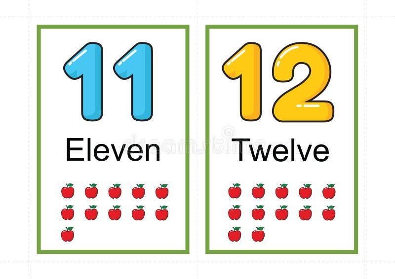 Printable numerowi flashcards dla uczyć numerowej flashcards liczby błyskową kartę dla uczyć numerowy łatwego drukować na a4 z kr obraz royalty free
