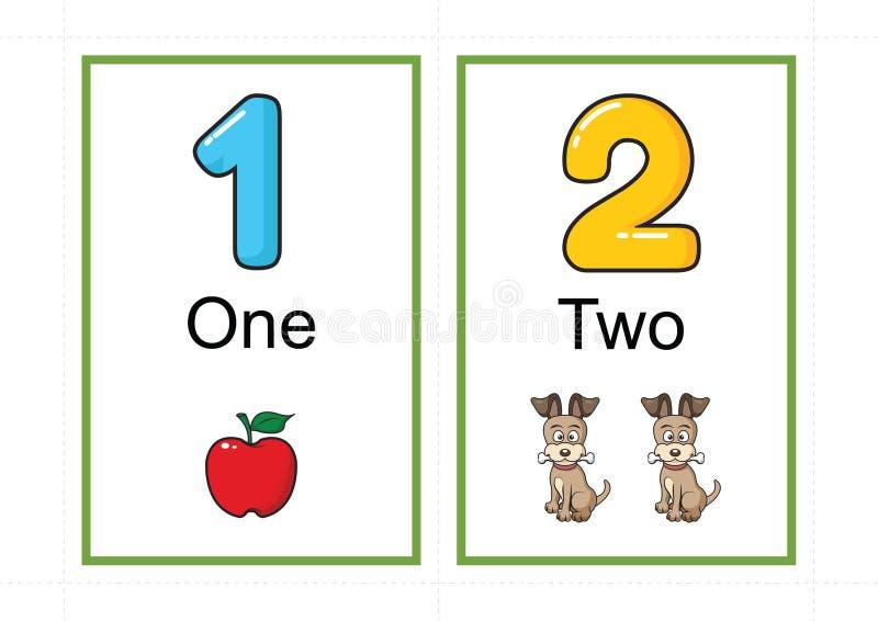 Printable numerowi flashcards dla uczyć numerowej flashcards liczby błyskową kartę dla uczyć numerowy łatwego drukować na a4 z kr obrazy royalty free
