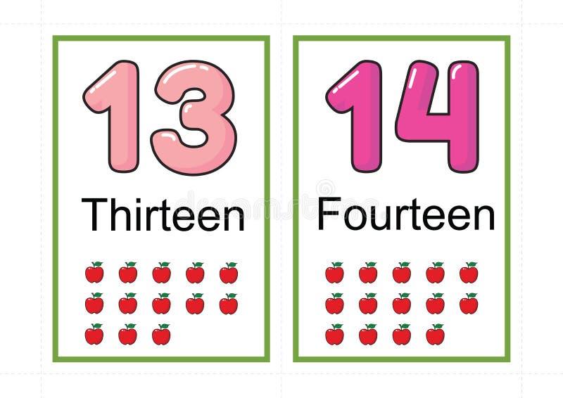 Printable numerowi flashcards dla uczyć numerowej flashcards liczby błyskową kartę dla uczyć numerowy łatwego drukować na a4 z kr zdjęcie stock