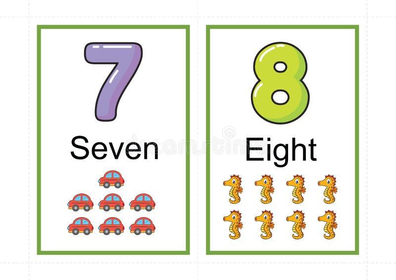 Printable numerowi flashcards dla uczyć numerowej flashcards liczby błyskową kartę dla uczyć numerowy łatwego drukować na a4 z kr obraz stock