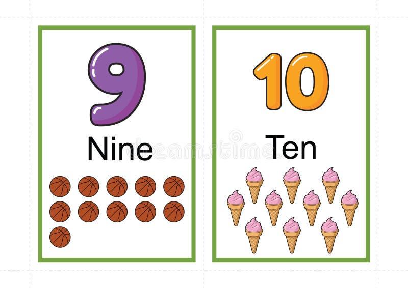 Printable numerowi flashcards dla uczyć numerowej flashcards liczby błyskową kartę dla uczyć numerowy łatwego drukować na a4 z kr fotografia stock