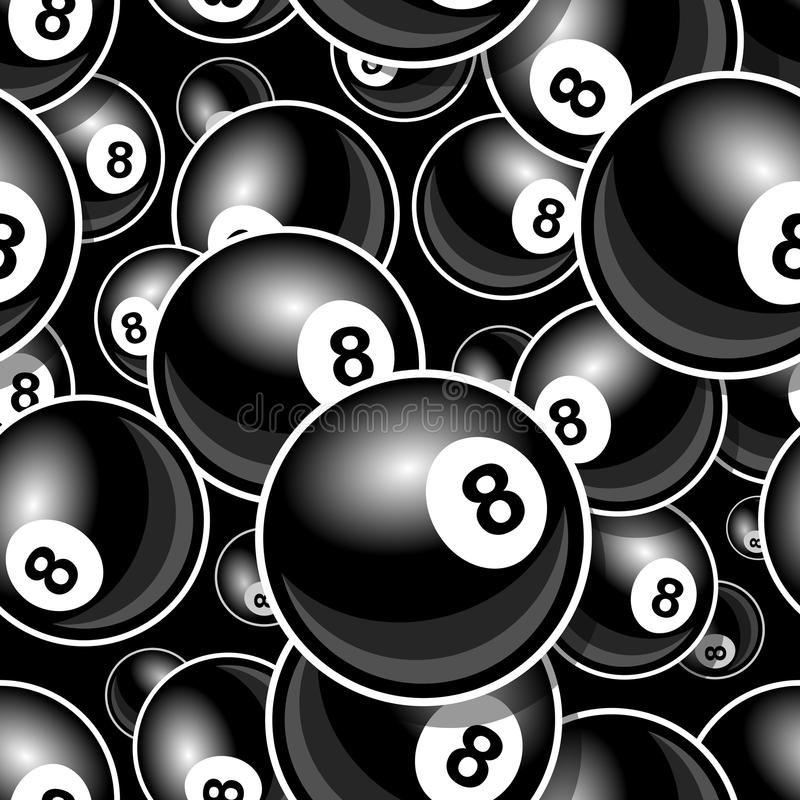 Seamless digital pattern with billiards pool snooker 8 ball icon. Printable pattern with billiards pool snooker 8 ball symbol. Vector illustration. Ideal for stock illustration