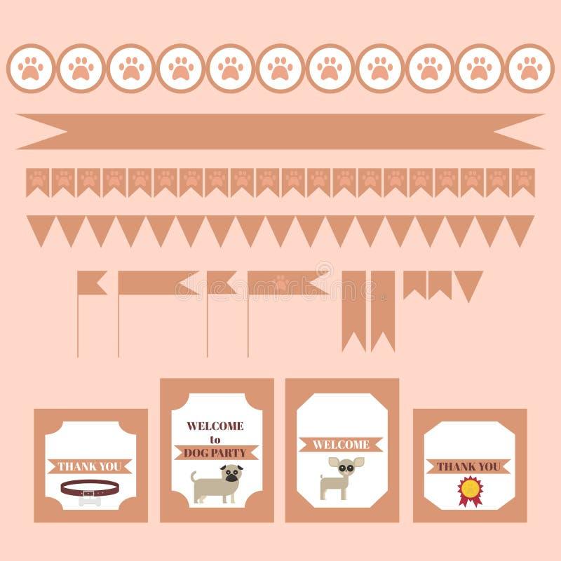 Printable plemienny set rocznika psa przyjęcia elementy Szablony, etykietki, ikony i opakunki, ilustracja wektor