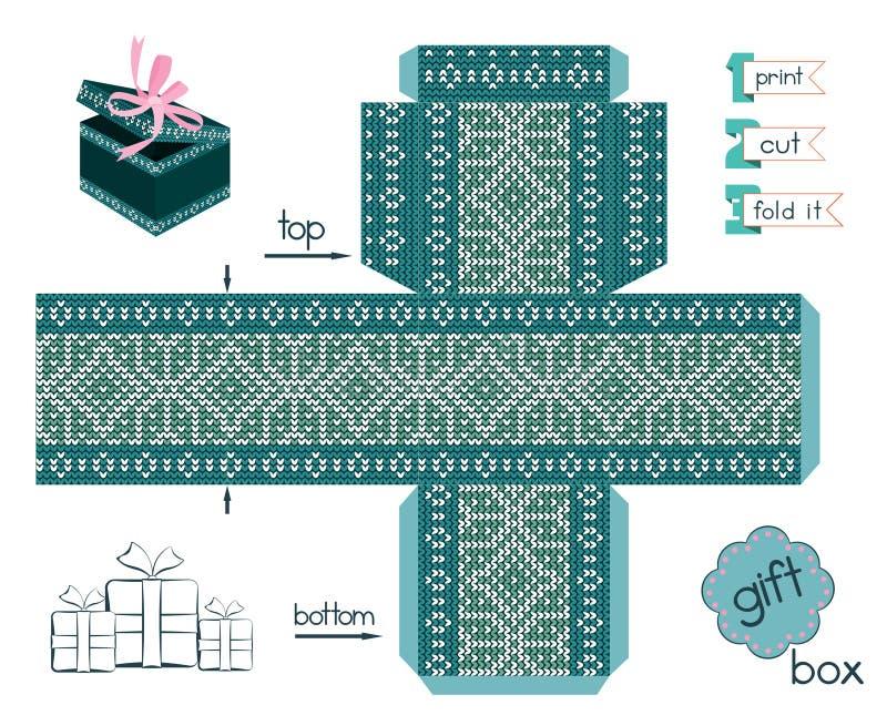 Printable prezenta pudełko Z skandynawa styl Dziającym wzorem ilustracja wektor