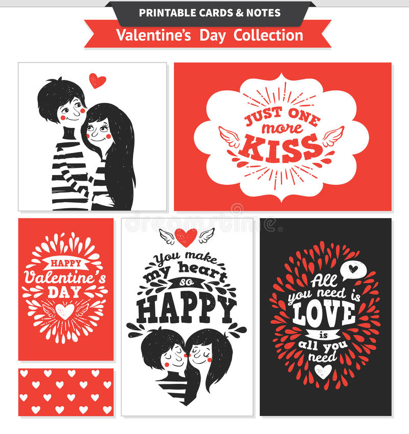 Printable set with couple in love and lettering. vector illustration