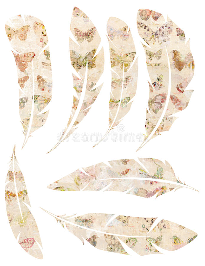 Printable Set of grungy watercolor vintage feathers with butterfly design on white background royalty free illustration