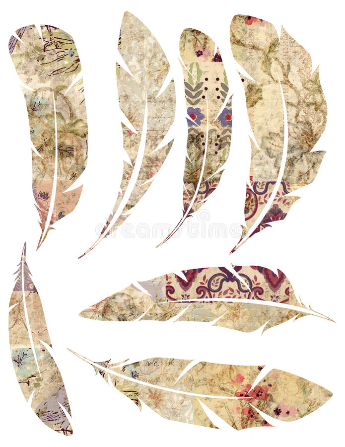 Printable Set of grungy watercolor vintage feathers on white background vector illustration