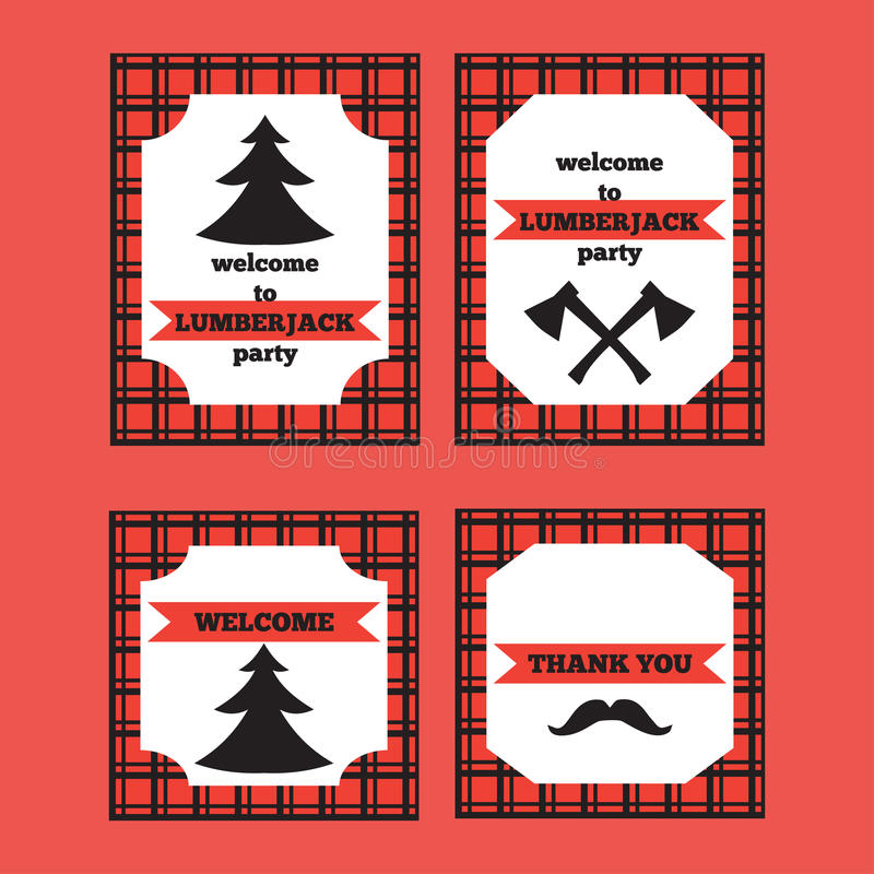 Printable set rocznika Lumberjack powitania i zaproszenia karty royalty ilustracja