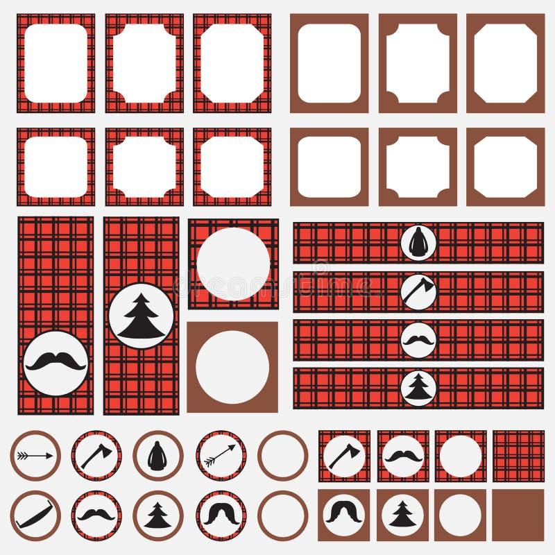 Printable set rocznika Lumberjack przyjęcia elementy Szablony, etykietki, ikony i opakunki, ilustracji