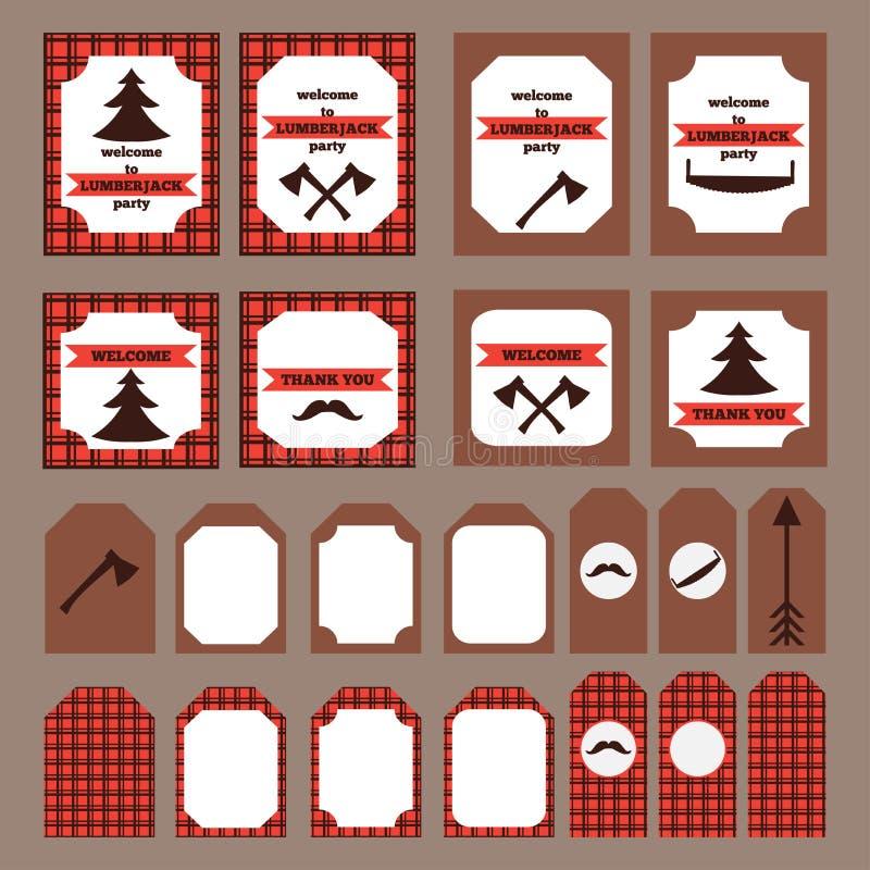 Printable set rocznika Lumberjack przyjęcia elementy Szablony, etykietki, ikony i opakunki, royalty ilustracja