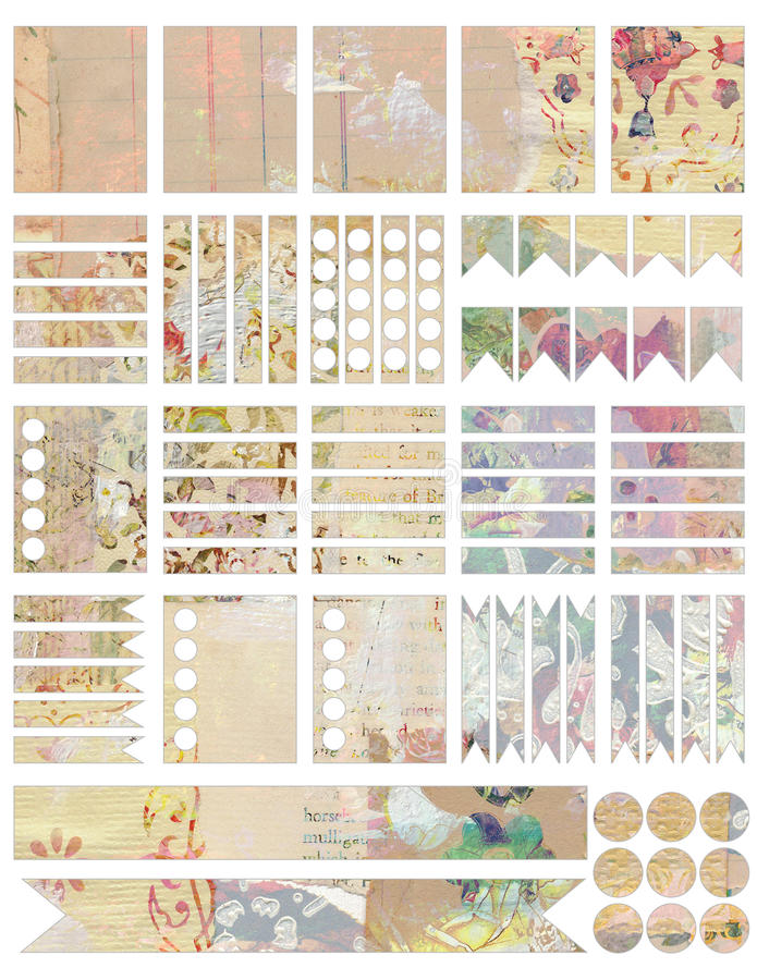 Printable Shabby chic vintage style collage planner stickers vector illustration