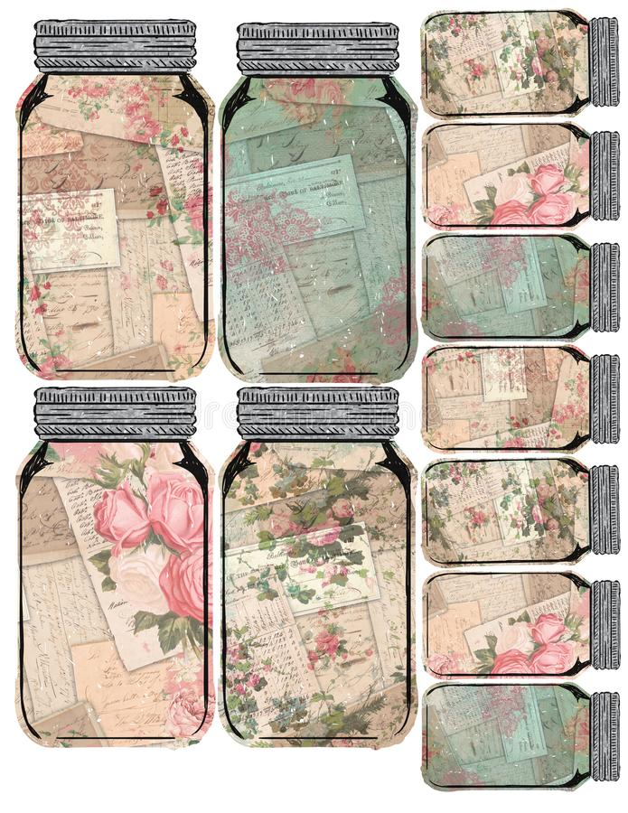 Printable Tag Sheet - Vintage Mason Jar Collage Floral Tags - Distressed - Farmhouse Style. Printable tag sheet of vintage Mason style jars, featuring collage royalty free illustration