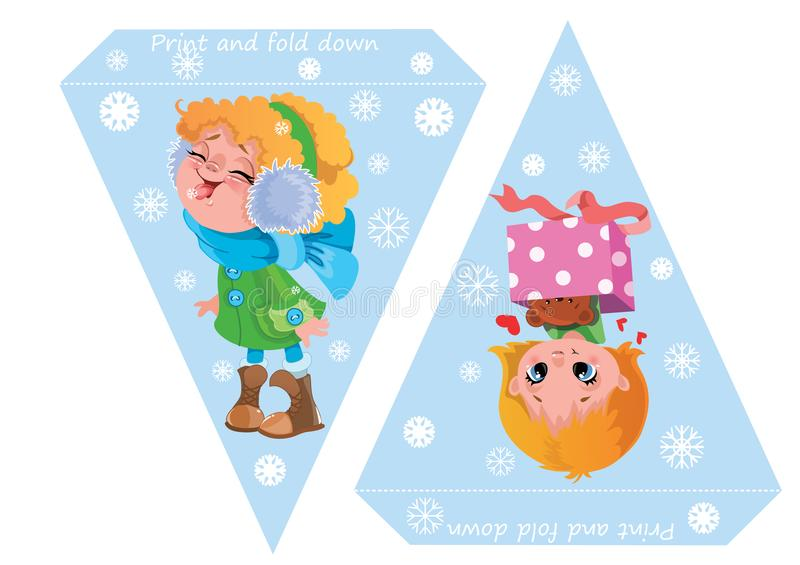 Printable template flags. Banner Baby Shower, Birthday, New Year or Christmas Party with cute girls and snowflakes vector illustration