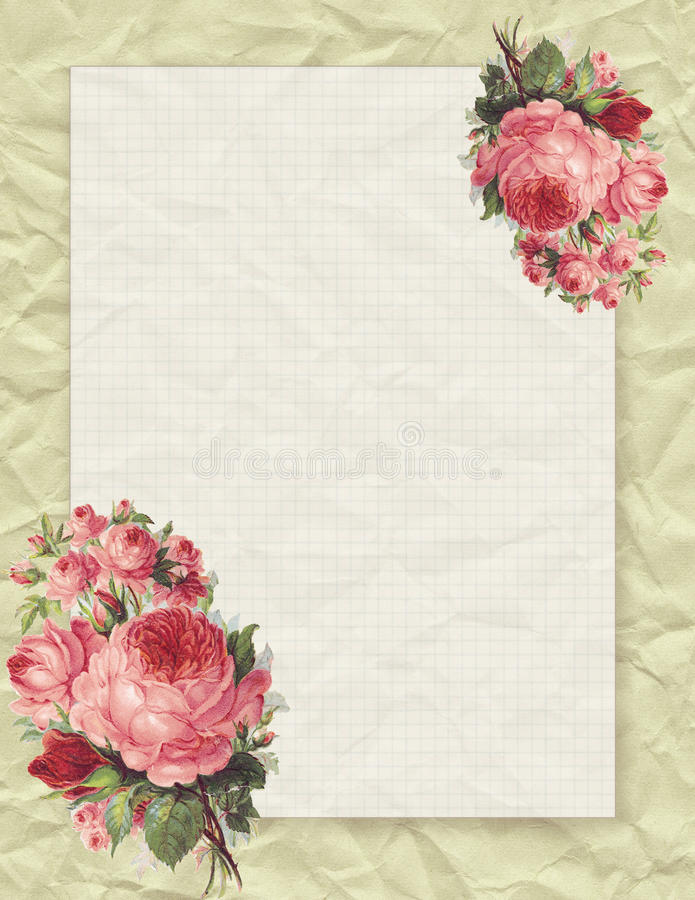 Printable vintage shabby chic style floral rose stationary on crumpled paper background. With space for text vector illustration