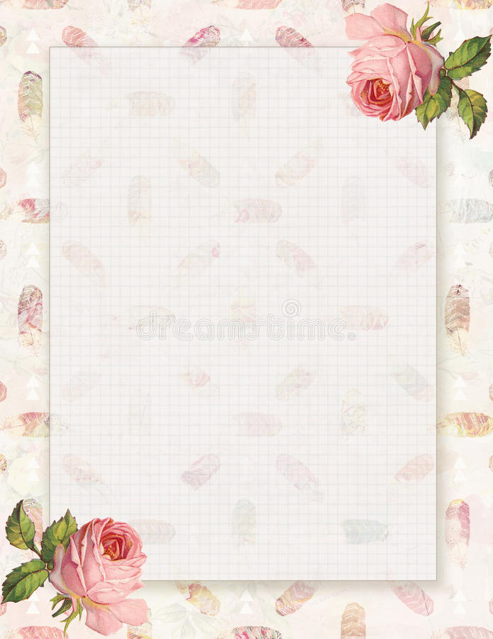 Printable vintage shabby chic style floral rose stationary on feather background. With space for text stock illustration