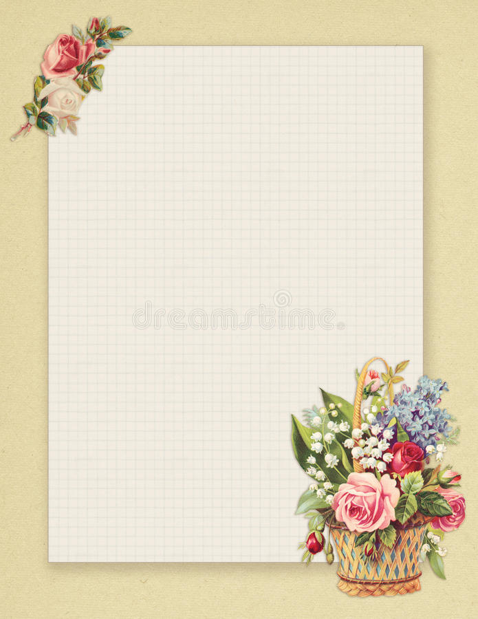 Printable vintage shabby chic style floral rose stationary on green paper background. Printable vintage shabby chic style floral rose framed stationary on free stock illustration