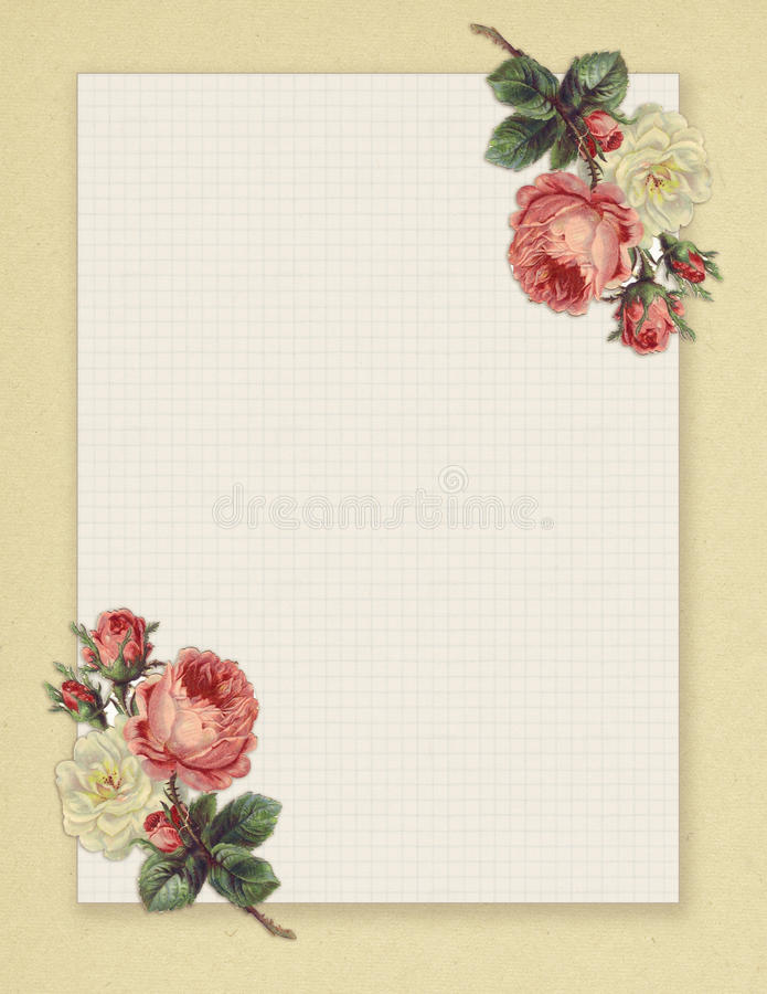 Printable vintage shabby chic style floral rose stationary on green paper background. Printable vintage shabby chic style floral rose framed stationary on free royalty free illustration