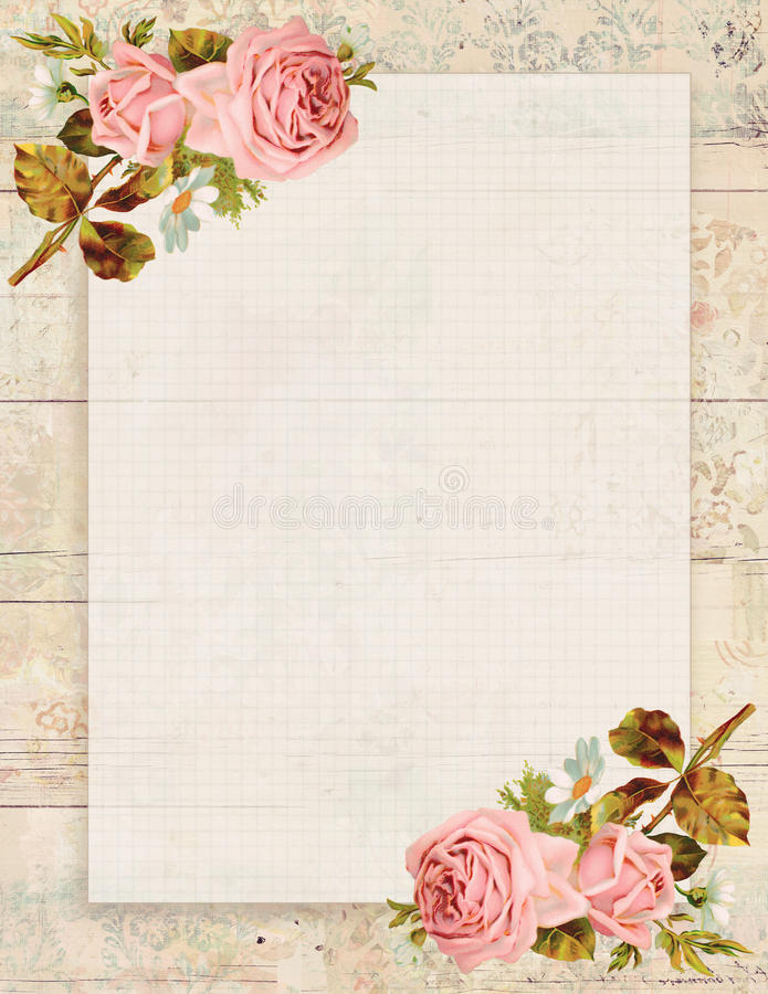 Printable vintage shabby chic style floral rose stationary on wood background. Printable vintage shabby chic style floral rose stationary on textured wood stock illustration