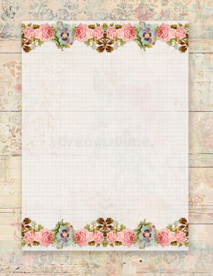 Printable vintage shabby chic style floral rose stationary on wood background. Printable vintage shabby chic style floral rose stationary on textured wood royalty free illustration