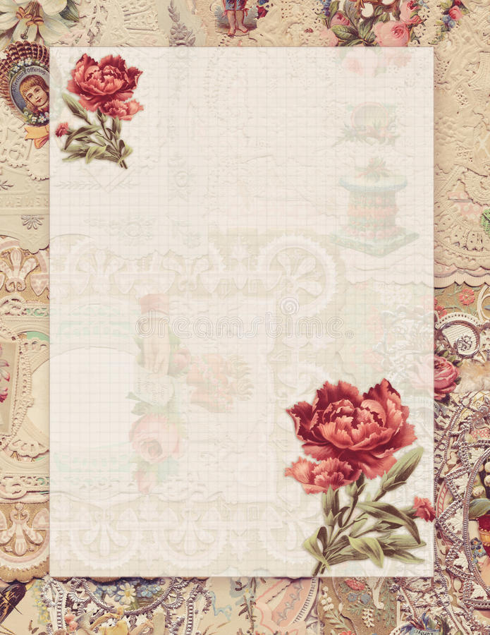 Printable vintage shabby chic style floral stationary on antique victorian collaged paper background. With space for text royalty free illustration