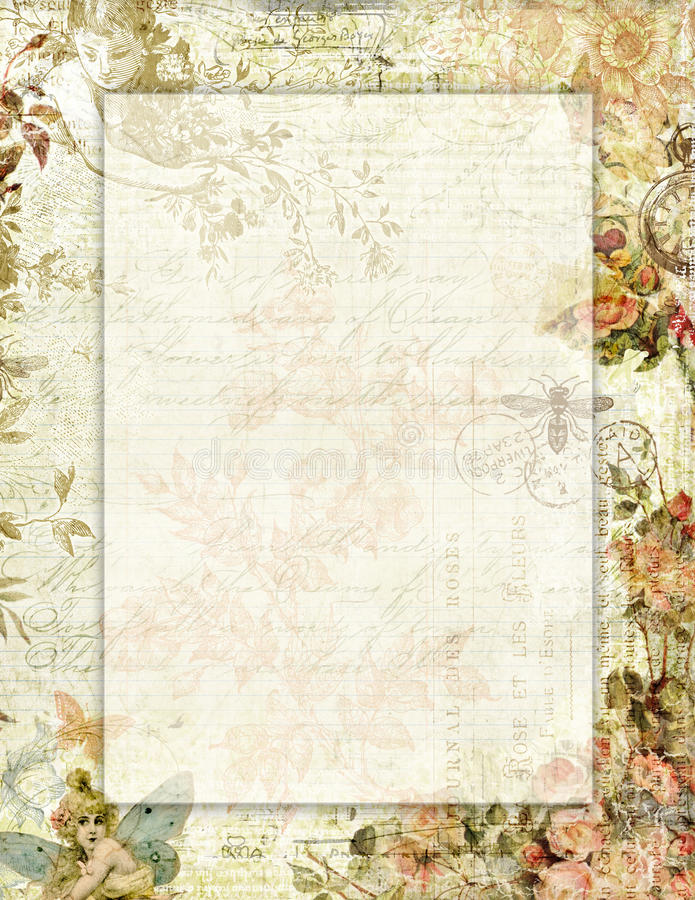 Printable vintage shabby chic style floral stationary with butterflies royalty free illustration