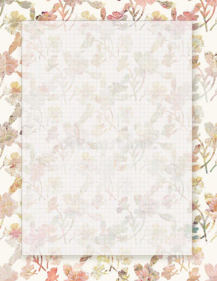 Printable vintage shabby chic style floral stationary. With space for text royalty free illustration