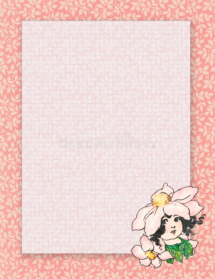 Printable vintage shabby chic style flower fairy stationary or background stock illustration