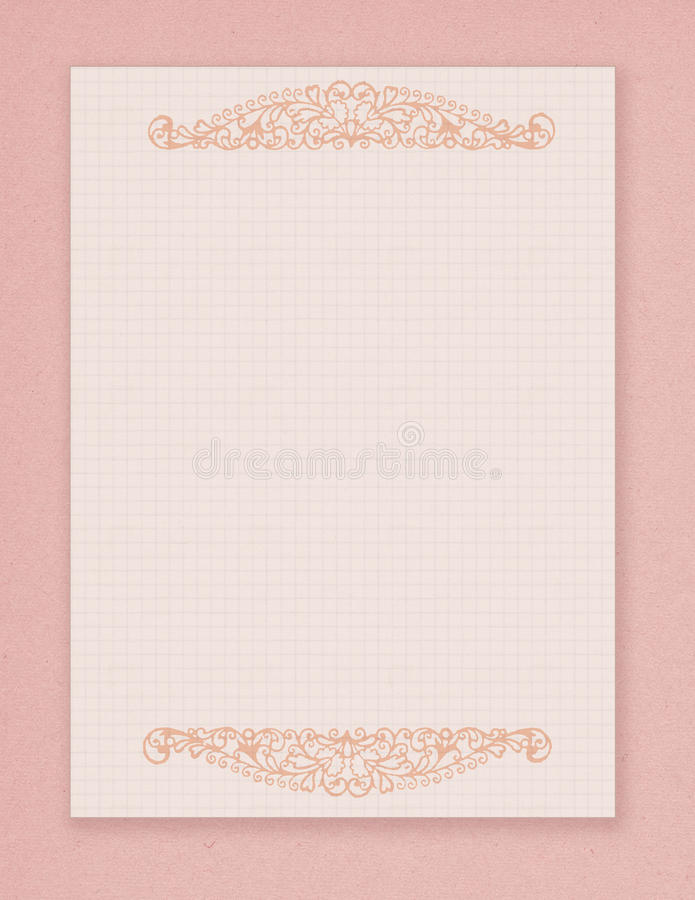 Printable vintage shabby chic style pink stationary with flourish embellishment. And space for text. Perfect for Valentine`s Day vector illustration