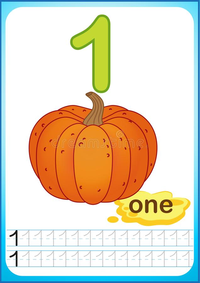 Free Printable Worksheet For Kindergarten And Preschool. Exercises For Writing Numbers. Bright Vegetable Harvest Chili Pepper, Pumpkin, Royalty Free Stock Photos - 123290578