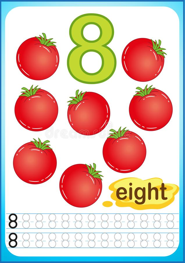 Free Printable Worksheet For Kindergarten And Preschool. Exercises For Writing Numbers. Bright Vegetable Harvest Chili Pepper, Pumpkin, Royalty Free Stock Photography - 123290607