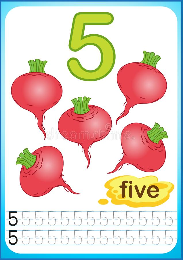 Free Printable Worksheet For Kindergarten And Preschool. Exercises For Writing Numbers. Bright Vegetable Harvest Chili Pepper, Pumpkin, Royalty Free Stock Photos - 123290608
