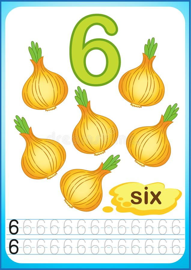 Free Printable Worksheet For Kindergarten And Preschool. Exercises For Writing Numbers. Bright Vegetable Harvest Chili Pepper, Pumpkin, Royalty Free Stock Photography - 123290617