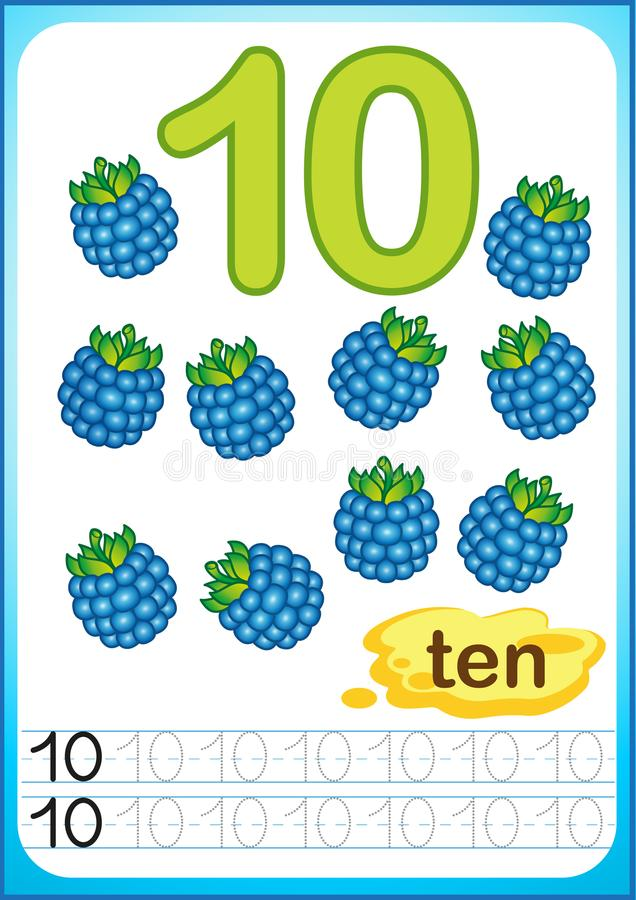 Free Printable Worksheet For Kindergarten And Preschool. Harvest Of Ripe Berries And Fruits. We Count And Write Numbers From 1 To 10 Stock Photography - 122801192