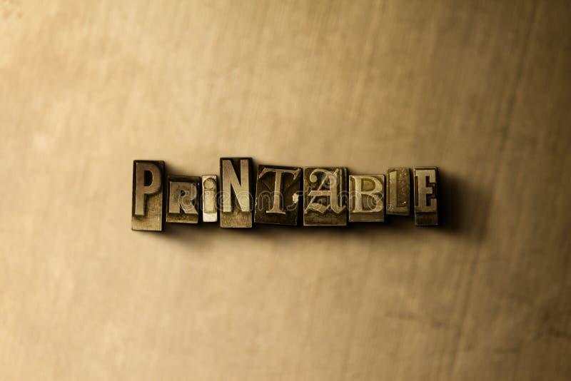 PRINTABLE - zakończenie grungy rocznik typeset słowo na metalu tle ilustracja wektor