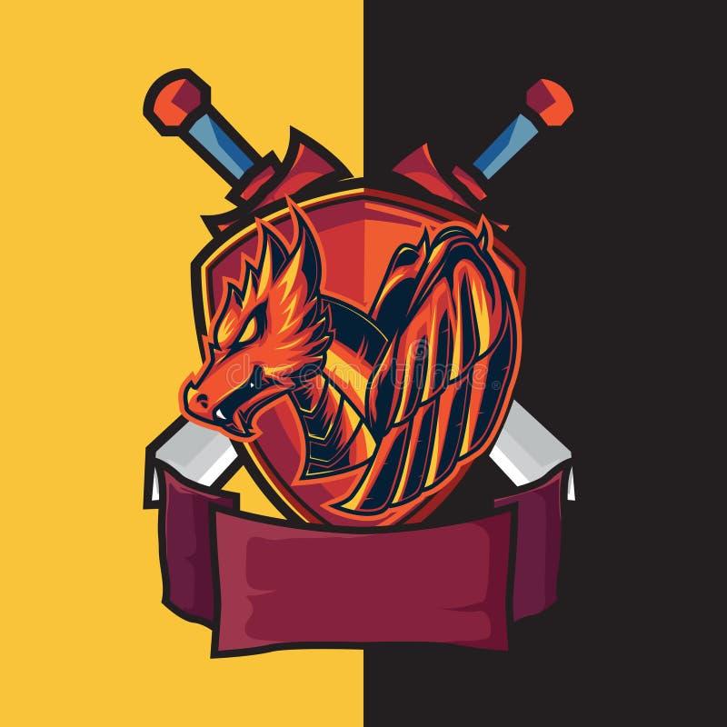 PrintAEsport som spelar logo med röda drake- och sköldteman och försvarkorssvärd Ljusrött som brand stock illustrationer