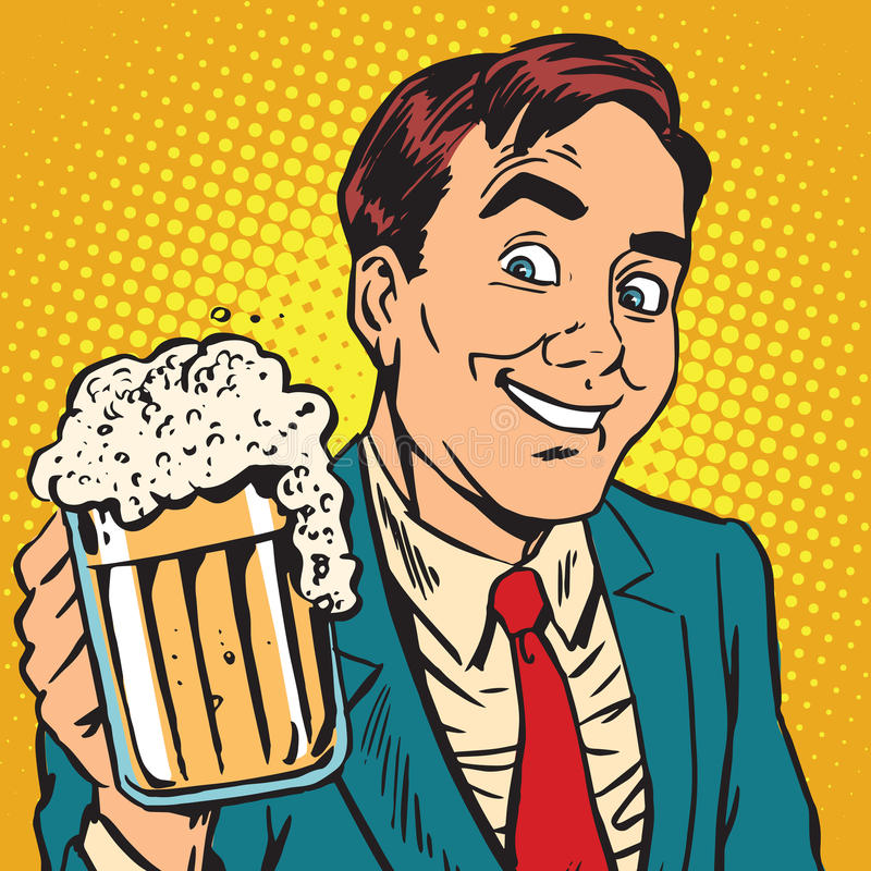 Printavatar有一个杯子的画象人起泡沫的啤酒 皇族释放例证